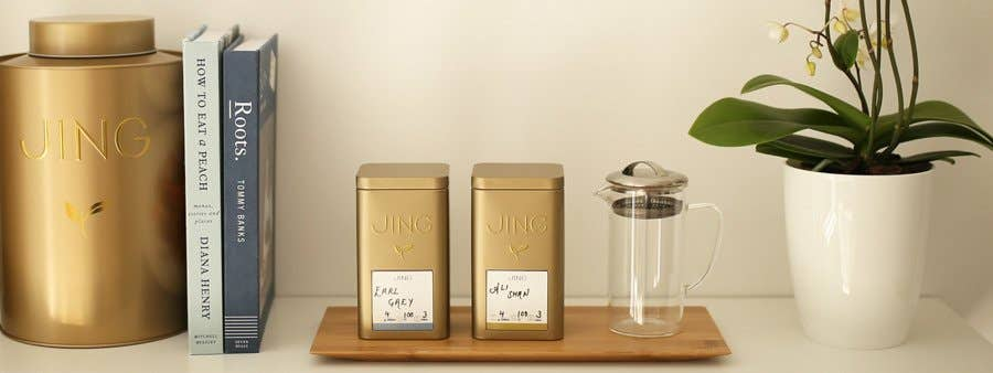 Square Tea Caddy with customisable labels